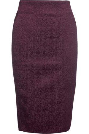 Women's Artisanal Burgundy Cotton Brocade Pencil Skirt Medium Conquista