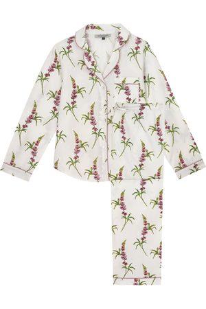 Women Pajamas - White Cotton Ladies Traditional Pyjama Set, Lupin Print Medium Their Nibs