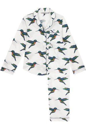 Women Pajamas - White Cotton Ladies Traditional Pyjama Set, Hummingbird Print Medium Their Nibs