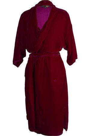 Women Bathrobes - Women's Artisanal Red Velvet Zandra Silk Koi Large Jennafer Grace