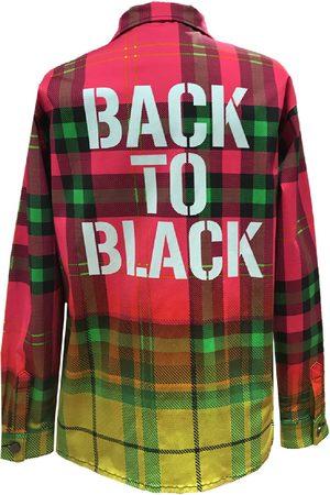 Women Denim Jackets - Women's Artisanal Black Cotton Shirt Jacket Denim Back To Large maxjenny