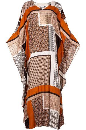 Women Printed Dresses - Women's Artisanal Fabric Kaftan Dress In Geometrical Print Athene L/XL AZOiiA