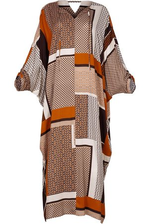 Women Maxi Dresses - Women's Artisanal Natural Fabric Lightweight Viscose Maxi Kaftan Dress Alya L/XL AZOiiA