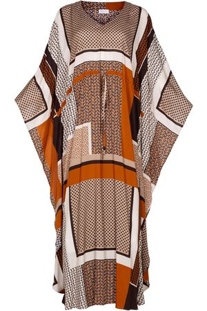Women Maxi Dresses - Women's Artisanal Brown Fabric Lightweight Viscose Maxi Kaftan Dress Anassa L/XL AZOiiA