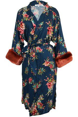 Women's Artisanal Blue Cotton Norma Faux Fur Koi Kimono S/M Jennafer Grace
