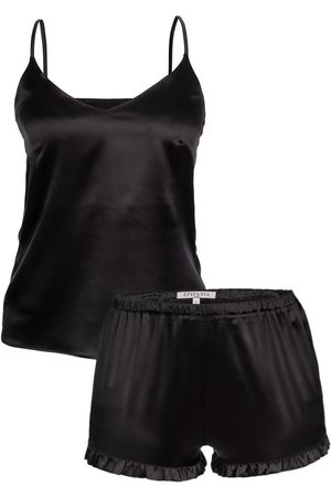 Women Sweats - Women's Artisanal Black Silk Set Small Epifania Nightwear