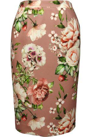 Women Pencil Skirts - Women's Pink Crepe Floral Pencil Skirt XL Luke Archer