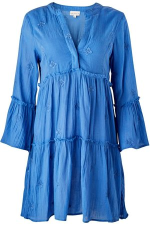 Women's Artisanal Blue Cotton Cristina Embroidered Organic Kaftan Large Aspiga