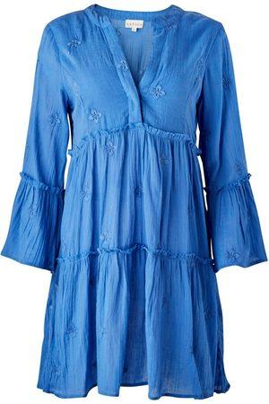 Women's Artisanal Blue Cotton Cristina Embroidered Organic Kaftan XS Aspiga