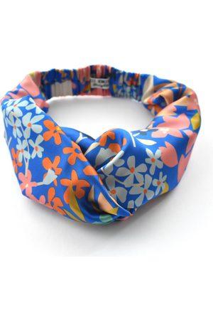 Women's Artisanal Blue Silk Twisted Turban Headband & Neck Scarf Small Tot Knots of Brighton