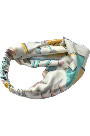Women's Artisanal White Silk Twisted Turban Headband & Neck Scarf Small Tot Knots of Brighton