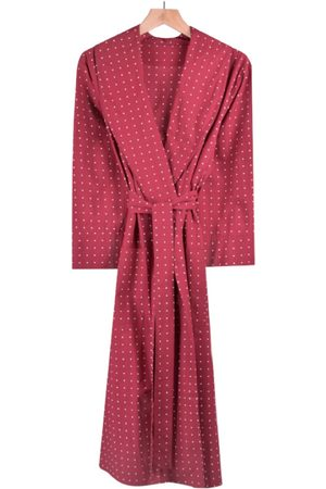 Men's Red Cotton Lightweight Dressing Gown - Tosca Large Bown Of London