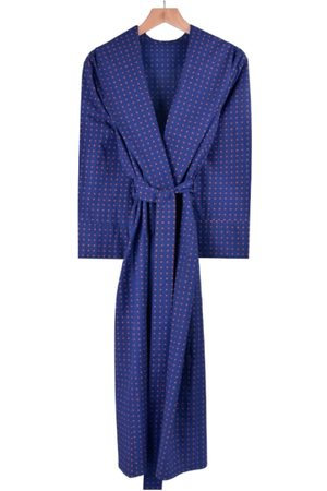Men's Orange Cotton Lightweight Dressing Gown - Pacific Large Bown Of London