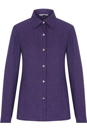 Women Long sleeves - Women's Artisanal Pink/Purple Silk Floral Textured Long Sleeve Shirt XS kith & kin