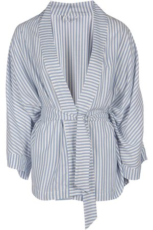 Women's Natural Fibres Blue Fabric Kibo Lenzing™ Ecovero™ Stripe Belted Kimono M/L IN OUR NAME