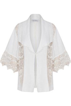 Women Kimonos - Women's Artisanal White Linen Kimono With Lace Detail Medium kith & kin