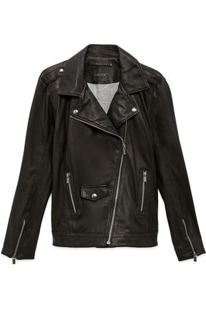 Women Leather Jackets - Women's Black Leather Cult Recycled Jacket Medium AS by DF