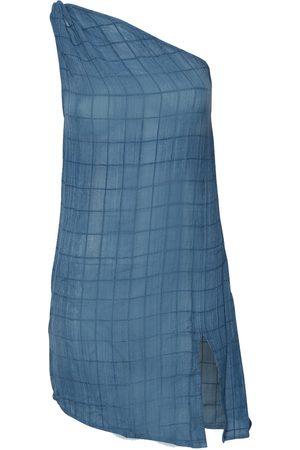 Women Party Dresses - Women's Artisanal Blue Cotton Aegean Dress - Indigo Large Stain
