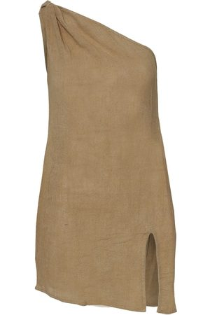 Women Party Dresses - Women's Artisanal Natural Cotton Aegean Dress - Oat Small Stain