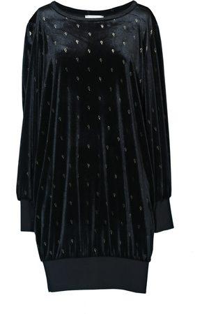 Women Casual Dresses - Women's Black Velvet Lena Sweater Dress XS Ivana Helsinki