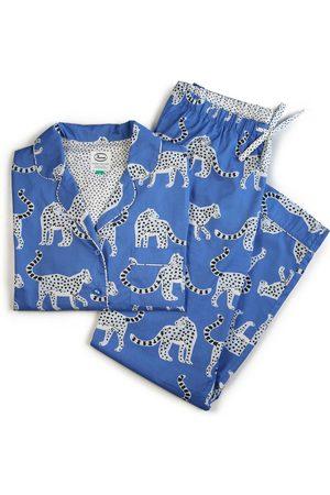 Women Pajamas - Women's Artisanal Blue Cotton Snow Leopards Organic Pyjamas Large Anorak