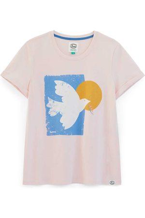 Women's Artisanal Pink Cotton Dove Organic T-Shirt XS Anorak