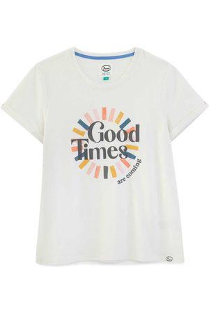 Women's Artisanal White Cotton Good Times Organic T-Shirt Large Anorak