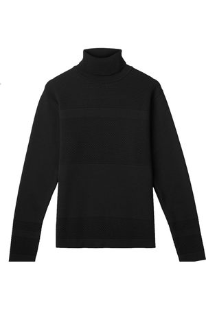 Men's Organic Black Wool Wex Sailor Turtleneck XXL Le Pirol
