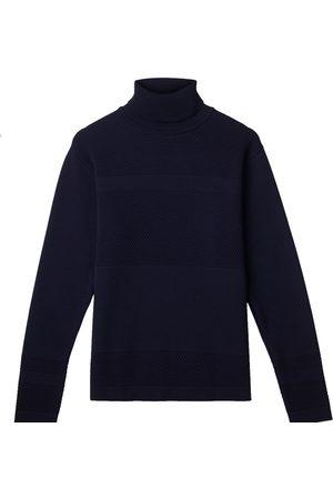 Men's Organic Navy Wool Wex Sailor Turtleneck Large Le Pirol