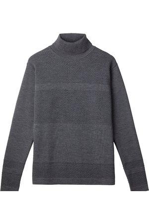 Men's Organic Grey Wool Wex Sailor Turtleneck Medium Le Pirol