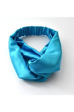 Women Hair Accessories - Women's Artisanal Turquoise Silk Twisted Turban Hairband & Neck Scarf Medium Tot Knots of Brighton