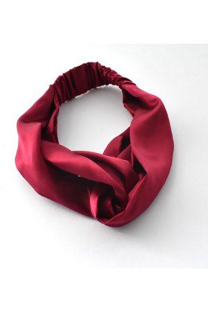 Women's Artisanal Burgundy Silk Twisted Turban Headband & Neck Scarf Small Tot Knots of Brighton