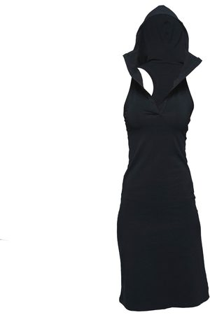 Women's Artisanal Black Cotton Non653 Hoodie Sport Dress Small NON+