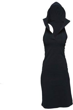 Women's Artisanal Black Cotton Non653 Hoodie Sport Dress XS NON+
