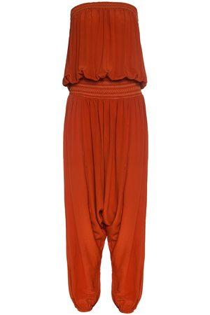 Women Jumpsuits - Women's Yellow Silk Sleeveless Jumpsuit ( & Orange) ADA KAMARA