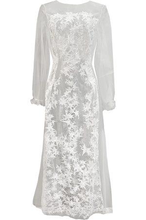 Women Sweats - Women's Artisanal White Star Embroidered Off Sheer Tulle Long Gown Large Carol Coelho