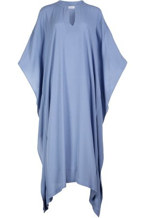 Women Tunic Dresses - Women's Artisanal Blue Silk Milky Blend Kaftan Dress Farida S/M AZOiiA