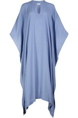 Women's Artisanal Blue Silk Milky Blend Kaftan Dress Farida XL/XXL AZOiiA