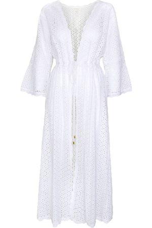 Women's Artisanal White Cotton Tina Organic Open Front Lace Maxi Kaftan Large Aspiga
