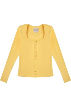 Women Long sleeves - Women's Artisanal Yellow Cotton Long Sleeve Button Up Shirt - 90S Style Small Nalu Bodywear