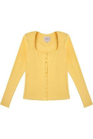 Women Long sleeves - Women's Artisanal Yellow Cotton Long Sleeve Button Up Shirt - 90S Style XS Nalu Bodywear