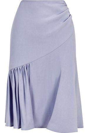 Women's Artisanal Blue Cotton Rushed Asymmetrical Skirt (Ice ) Medium Femponiq London