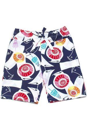 Women Bathrobes - Women's Artisanal Cotton Drawstring Short Pants - Midsummer Sprinkles Medium 4649.REC