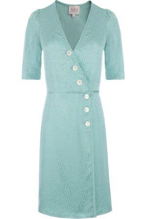 Women Party Dresses - Women's Artisanal Mint Fabric Mini Wrap Jacquard Dress With Buttons Large Nalu Bodywear