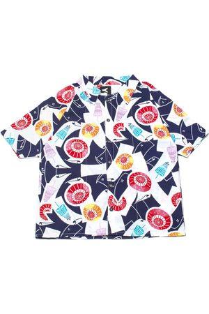 Women Bathrobes - Women's Artisanal Cotton Hawaiian Shirt - Midsummer Sprinkles Large 4649.REC