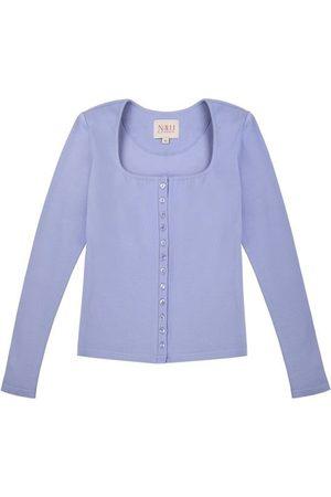Women's Artisanal Blue Cotton Long Sleeve Button Up Lavender Shirt - 90S Style Large Nalu Bodywear