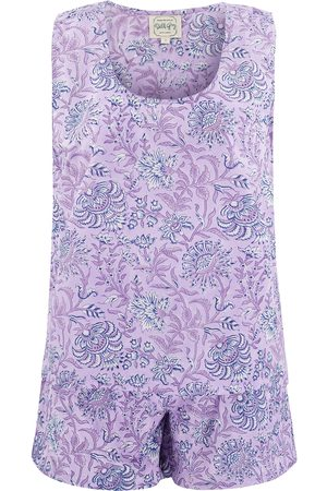 Women's Artisanal Grey Cotton Lilac Jasmine Sleeveless Pyjama Set Large Dilli Grey