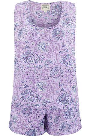 Women's Artisanal Grey Cotton Lilac Jasmine Sleeveless Pyjama Set Small Dilli Grey