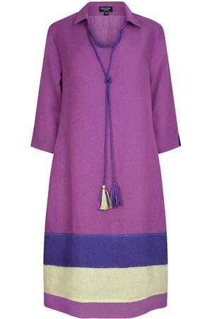 Women's Artisanal Orange Linen Morocco Tunic Dress Violet-Indigo Large NoLoGo-chic