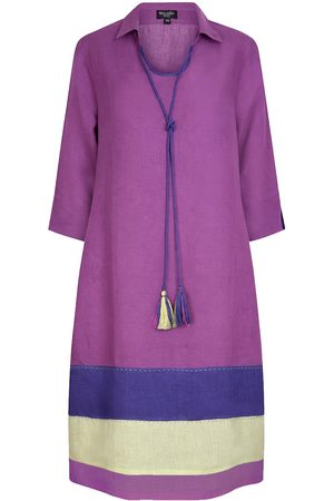 Women's Artisanal Orange Linen Morocco Tunic Dress Violet-Indigo XXL NoLoGo-chic